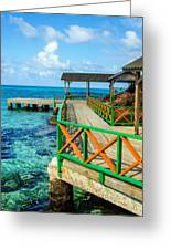 Dock And Tropical Water Greeting Card