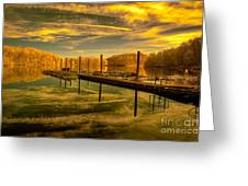 Dock Reflections-golden Greeting Card