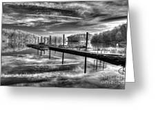 Dock Reflections-mono Greeting Card