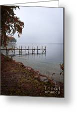 Dock On A Lake In Autumn Greeting Card