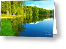 Dock On Mountain Lake Greeting Card