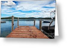 Dock On Summer Lake Greeting Card