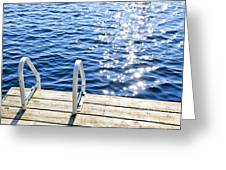 Dock On Summer Lake With Sparkling Water Greeting Card