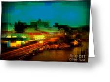 Dock On The East River - New York Greeting Card