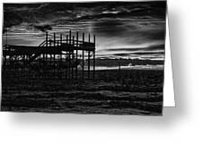 Dock Sunset Bw1 Greeting Card