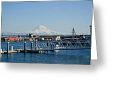 Dock View Of Mt. Rainier Greeting Card