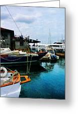 Docked Boats In Newport Ri Greeting Card