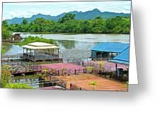 Docking Area On River Kwai In Kanchanaburi-thailand Greeting Card