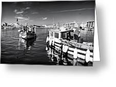 Docking At The Market Greeting Card by John Rizzuto