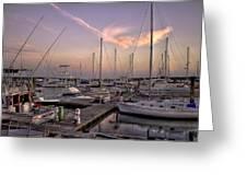 Dockside Sunset In Beaufort South Carolina Greeting Card by Reid Callaway