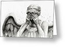 Doctor Who Weeping Angel Don't Blink Greeting Card by Olga Shvartsur