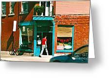 Documenting Vintage Montreal Depanneur Deli Wilensky Montreal Restaurant Paintings Cspandau  Art Greeting Card
