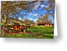 Dodge Dump Truck Farm Barn Scene Greeting Card