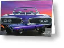 Dodge Rt Double Exposure Purple Sunset Greeting Card
