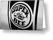 Dodge Super Bee Decal Black And White Picture Greeting Card