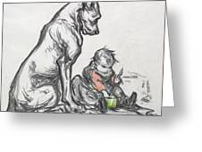 Dog And Child Greeting Card by Robert Noir