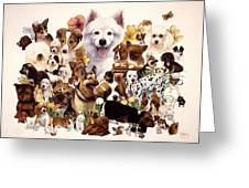 Dog And Puppies Greeting Card by John YATO