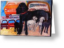 Dog At The Used Car Lot, Rex Gouache On Paper Greeting Card