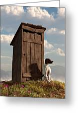 Dog Guarding An Outhouse Greeting Card