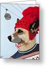 Dog In A Ski Jumper Greeting Card