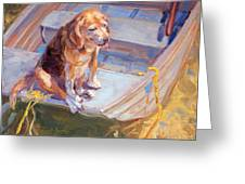 Dog On Boat Greeting Card