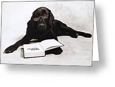 Dog Reading James Thurber Greeting Card