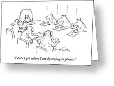 Dogs At A Meeting Greeting Card by Mike Twohy