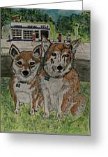 Dogs In Front Of The Gulf Station Greeting Card