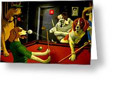 Dogs Playing Pool Wall Art Unknown Painter Greeting Card