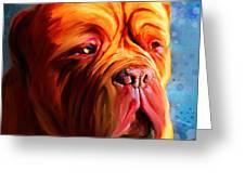 Vibrant Dogue De Bordeaux Painting On Blue Greeting Card
