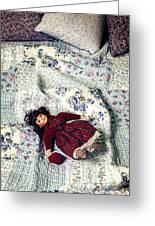 Doll On Bed Greeting Card