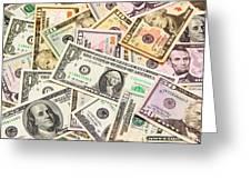 Dollars Background.  Greeting Card