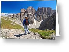 Dolomiti - Hiker In Sella Mount Greeting Card