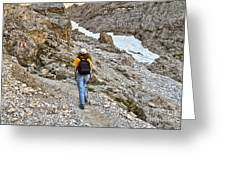 Dolomiti - Hiker In Val Setus Greeting Card