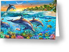 Dolphin Bay Greeting Card by Adrian Chesterman