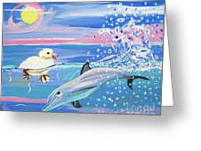 Dolphin Plays With Duckling Greeting Card