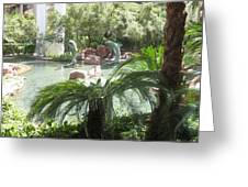 Dolphin Pond And Garden Green Greeting Card