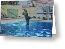 Dolphin Walking On Water Digital Art Greeting Card