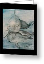Dolphins Duo Underwater Art Cathy Peek Greeting Card