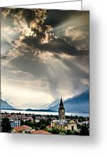 Domaso Sunrays Greeting Card by Jeffrey Teeselink