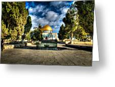Dome Of The Rock Hdr Greeting Card by David Morefield