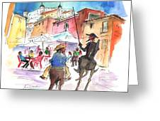 Don Quijote And Sancho Panza Entering Toledo Greeting Card