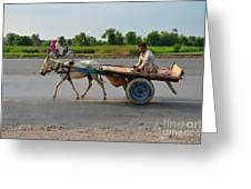 Donkey Cart Driver And Motorcycle On Pakistan Highway Greeting Card
