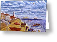 Donkey Rides On Blackpool Beach Greeting Card