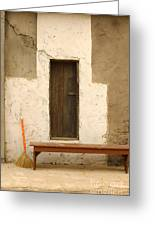 Door And Broomstick Greeting Card by Micah May