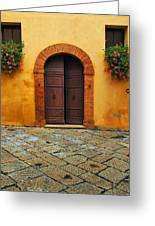 Door And Flowers In A Tuscan Courtyard Greeting Card