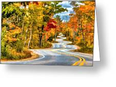 Door County Road To Northport In Autumn Greeting Card