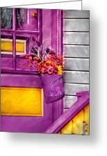 Door - Lavender Greeting Card by Mike Savad