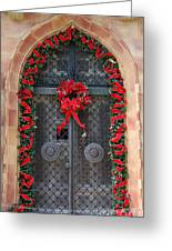 Door With Christmas Decoration  Greeting Card