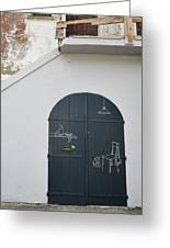 Door With Drawings Greeting Card